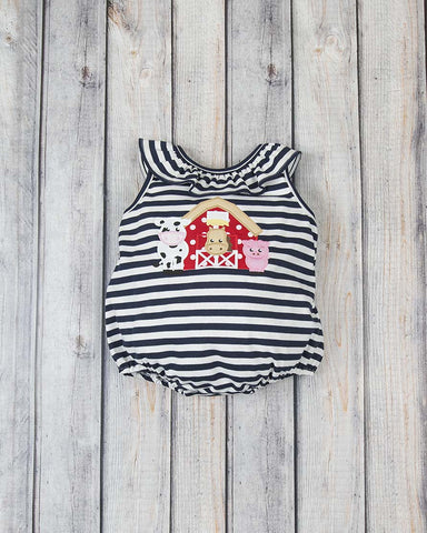 Barnyard Applique Knit Bubble - Girls - Stellybelly - 1