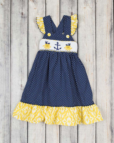 Smocked Nautical Jumper Dress