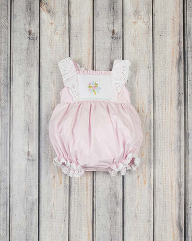 Smocked Embroidered Flower Peasant Bubble