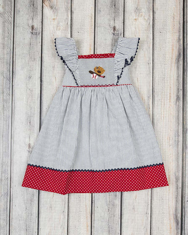 Smocked Baseball Bat Peasant Dress