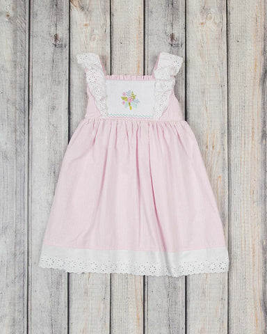 Smocked Embroidered Flower Peasant Dress