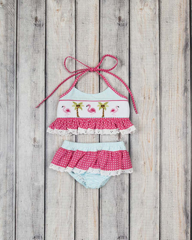 Smocked Aqua Flamingos Two Piece Swimsuit
