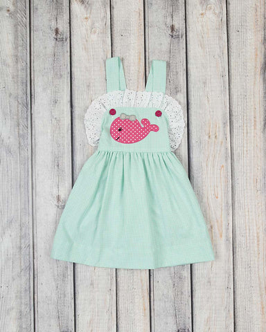 Mint Whales Applique Caroline Dress