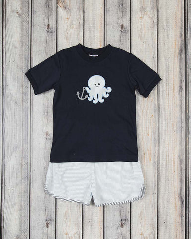 Navy Octopus Applique Short Set
