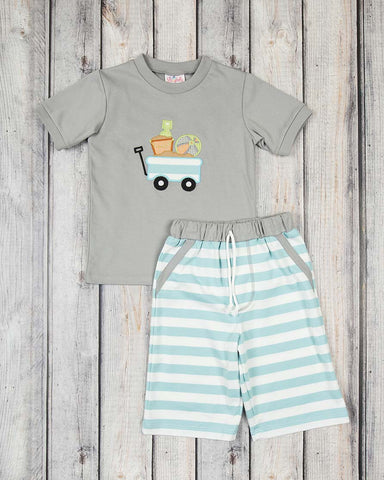 Beach Wagon Applique Short Set