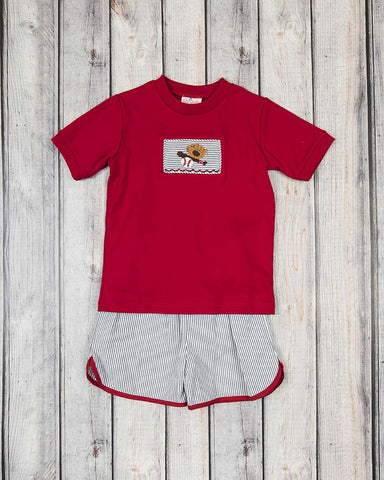 Smocked Baseball Bat Short Set