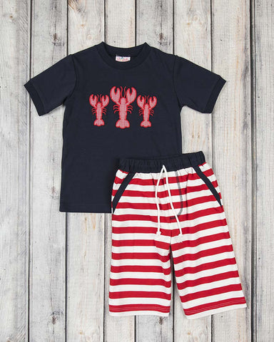 Lobster Applique Knit Short Set