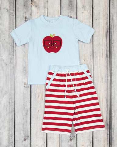 Apple Applique Knit Short Set