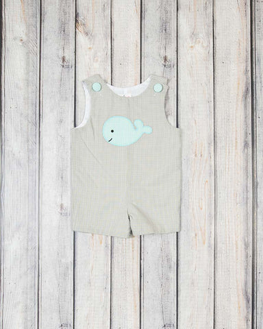 Mint Whales Applique Jon Jon