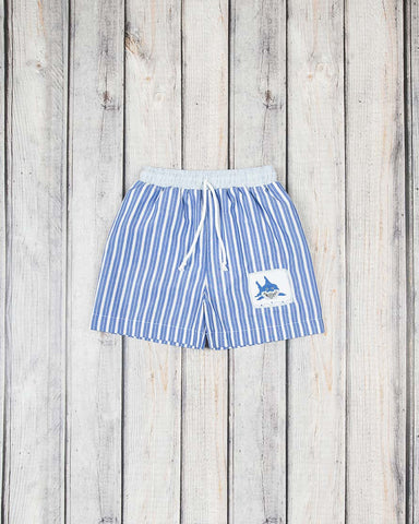 Smocked Blue Shark Swim Trunks