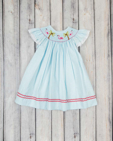 Smocked Aqua Flamingos Bishop