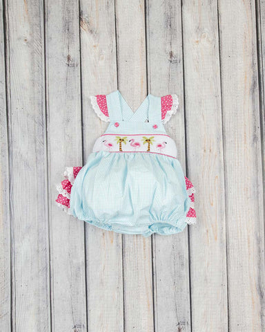 Smocked Aqua Flamingos Ruffle Bubble