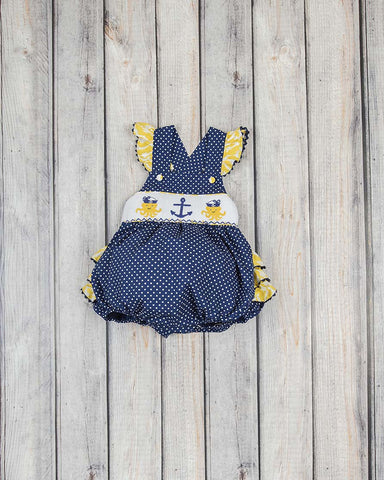 Smocked Nautical Ruffle Bubble