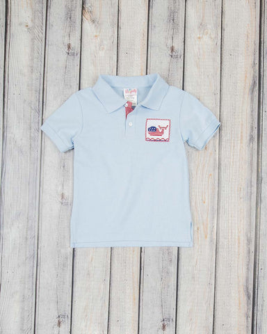 Smocked Patriotic Whale Polo