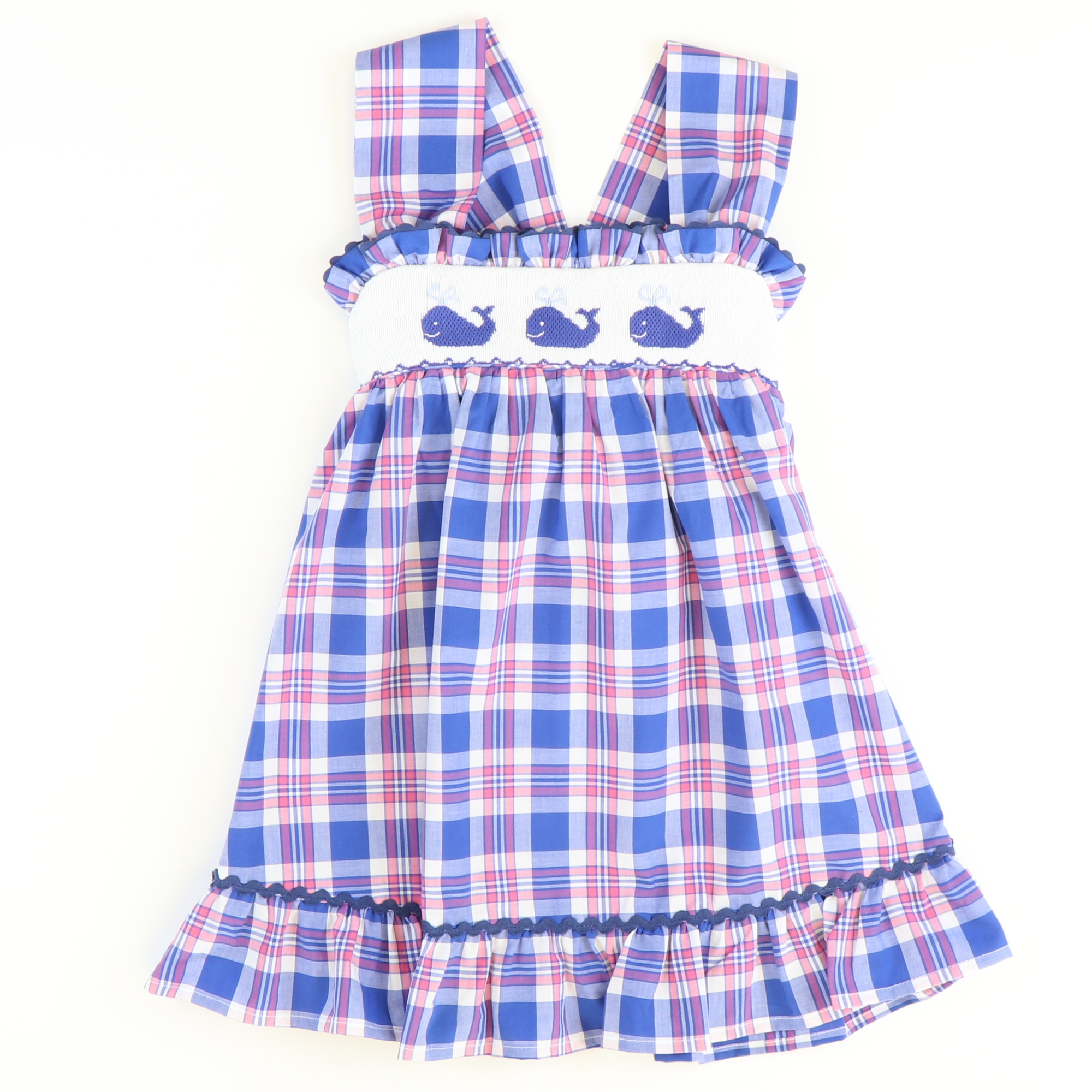 Smocked Whales Strap Sundress - Blue, Pink, & White Plaid