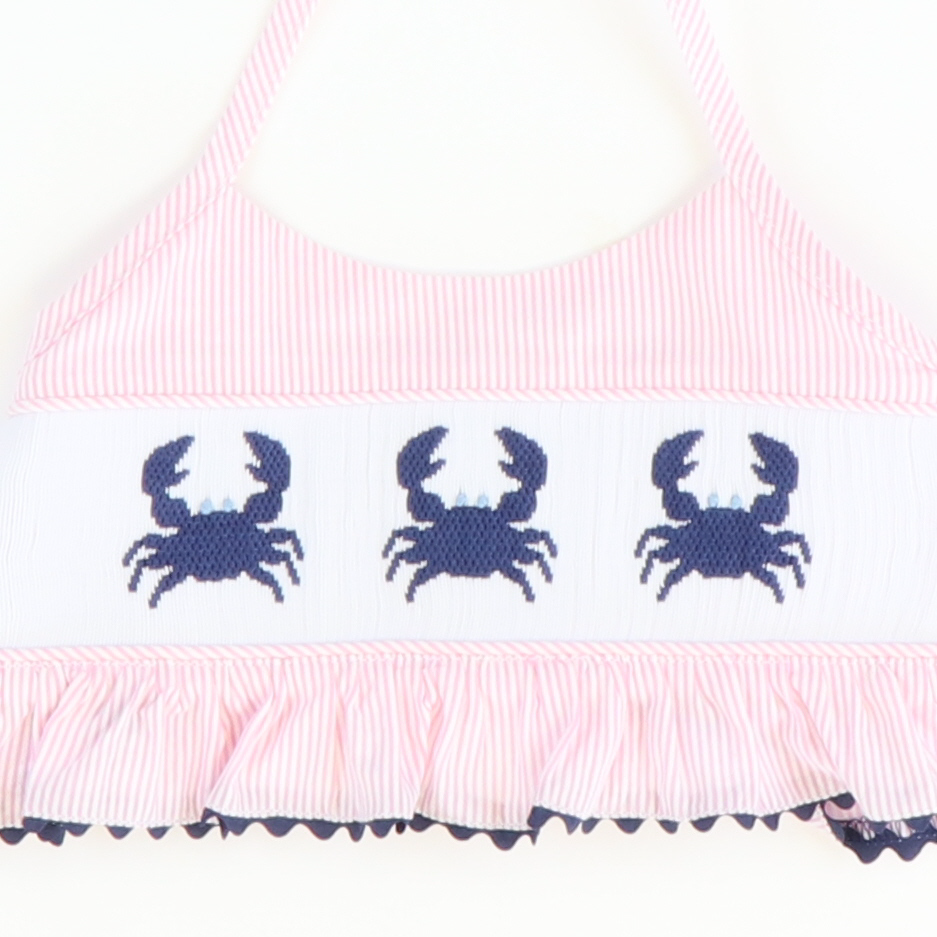 Smocked Blue Crabs Two-Piece Swimsuit - Light Pink Stripe Seersucker - Stellybelly