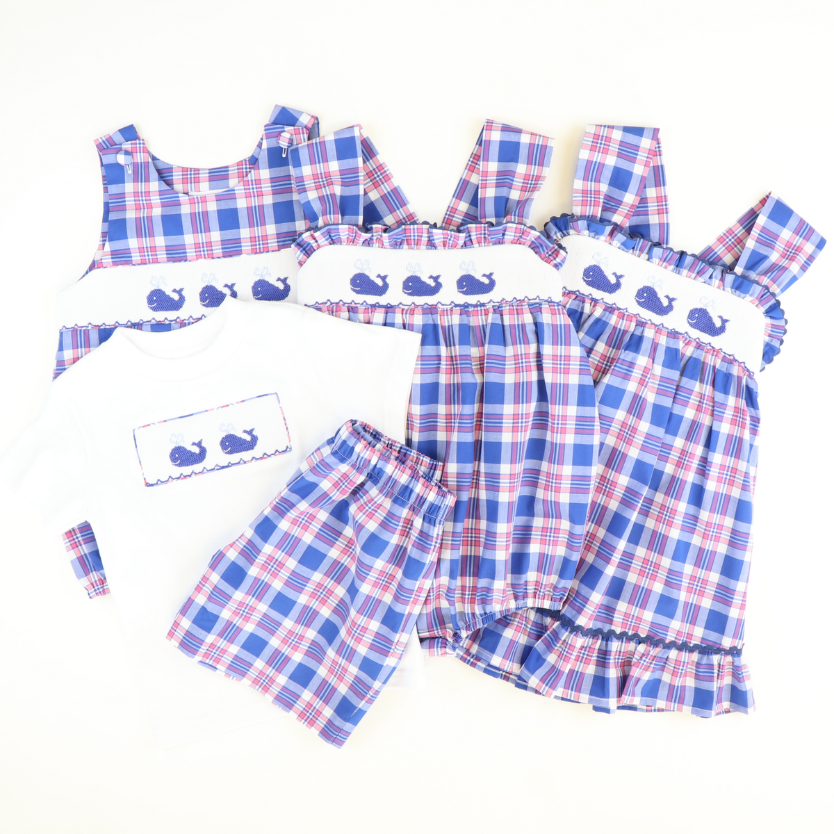 Smocked Whales Strap Sundress - Blue, Pink, & White Plaid - Stellybelly