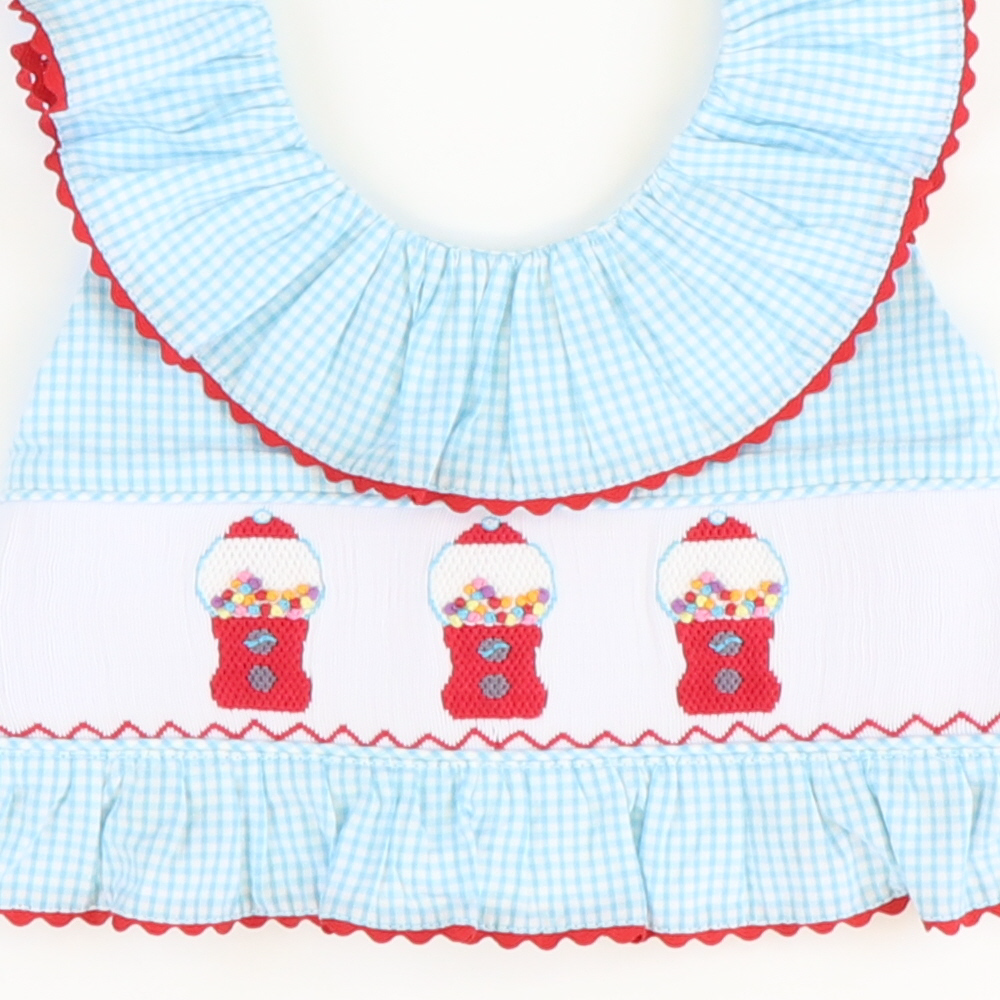 Smocked Gumballs Two-Piece Swimsuit - Sky Mini Check Seersucker - Stellybelly