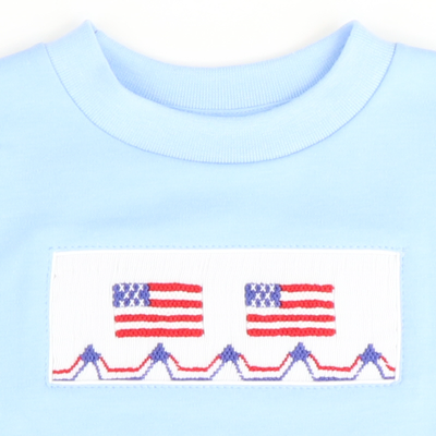 Smocked Flags Short Sleeve Shirt - Light Blue Knit - Stellybelly