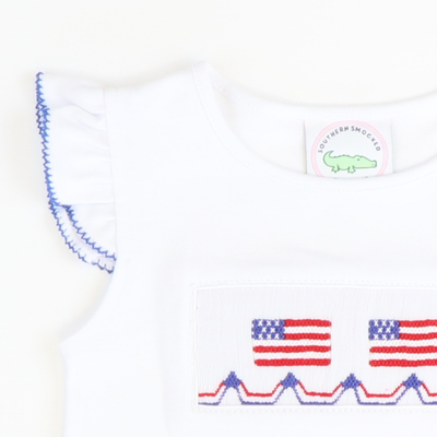 Smocked Flags Angel Wing Top - White Knit - Stellybelly