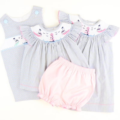 Smocked Sailboats & Lighthouse Top & Bloomer Set - Blue Stripe Seersucker - Stellybelly