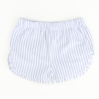 Ruffle Shorts - Blue & White Stripes - Stellybelly