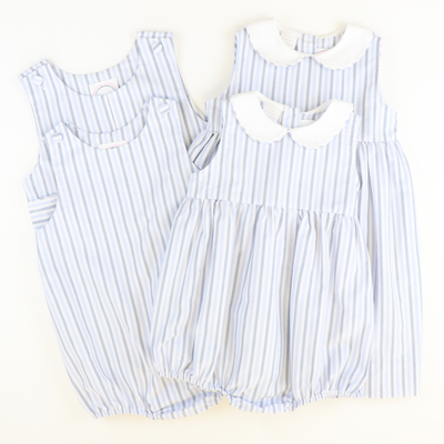 Sunday Brunch Collared Girl Bubble - Blue & White Stripes - Stellybelly