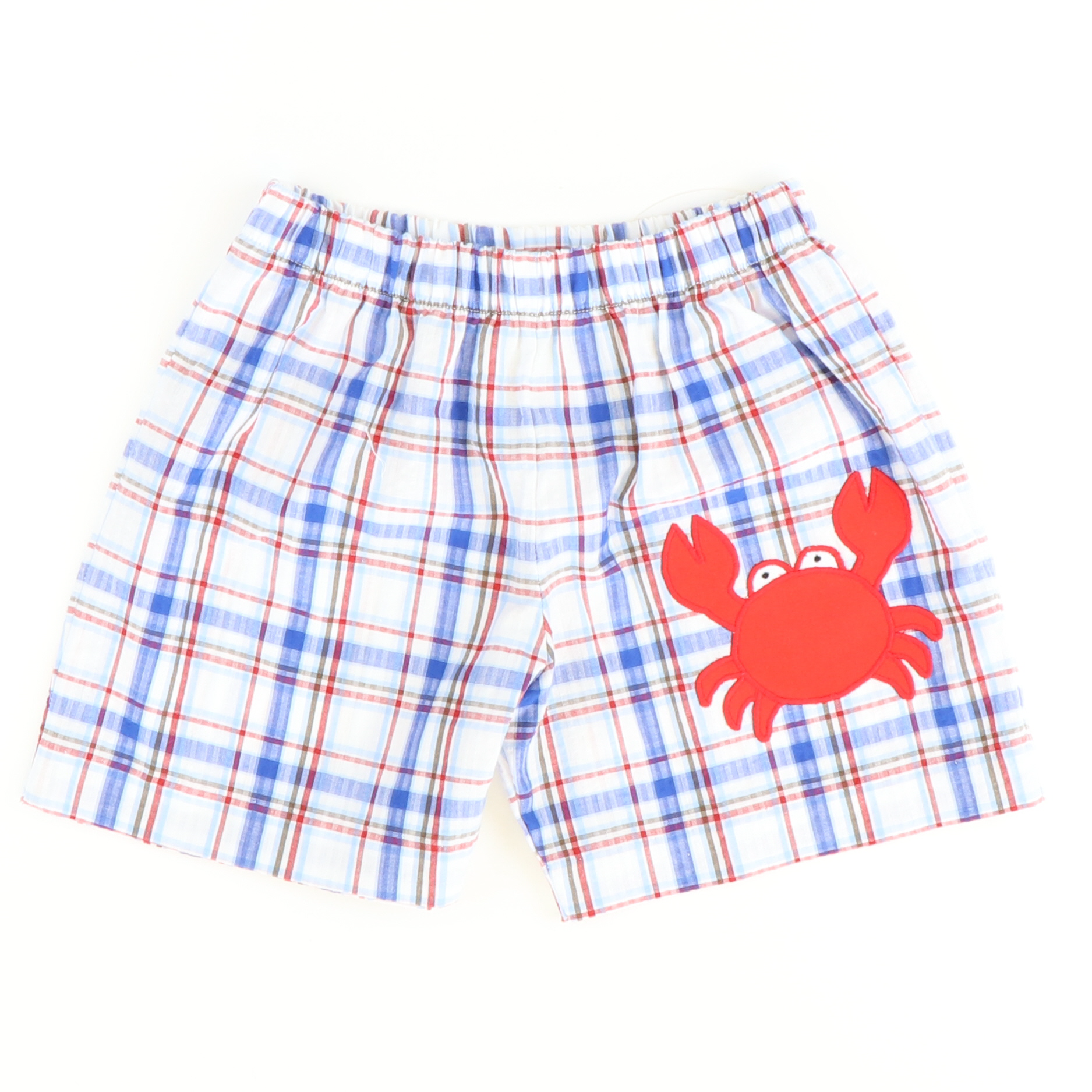 Appliquéd Crab Shorts - Blue, Red, & White Plaid - Stellybelly