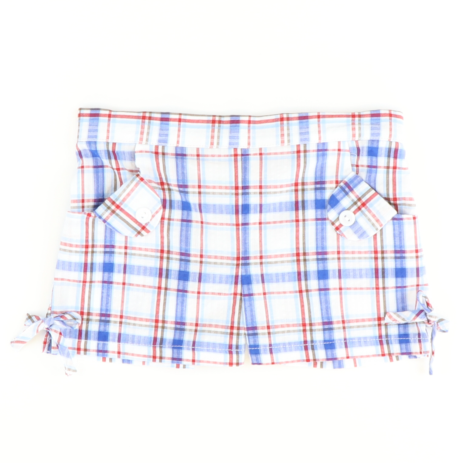Bow Shorts - Blue, Red, & White Plaid