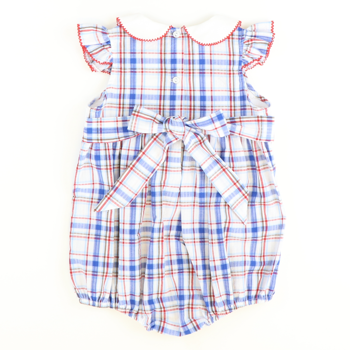 Smocked Crabs Collared Girl Bubble - Blue, Red, & White Plaid Seersucker - Stellybelly