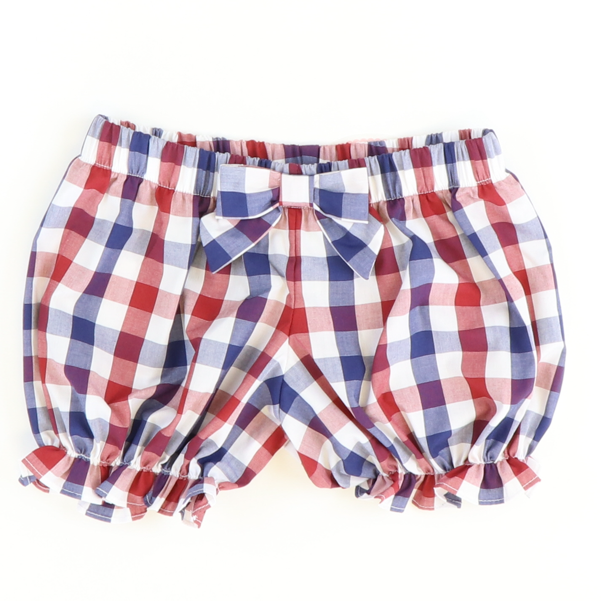Bow Bloomer Shorties - Red & Blue Wide Check - Stellybelly