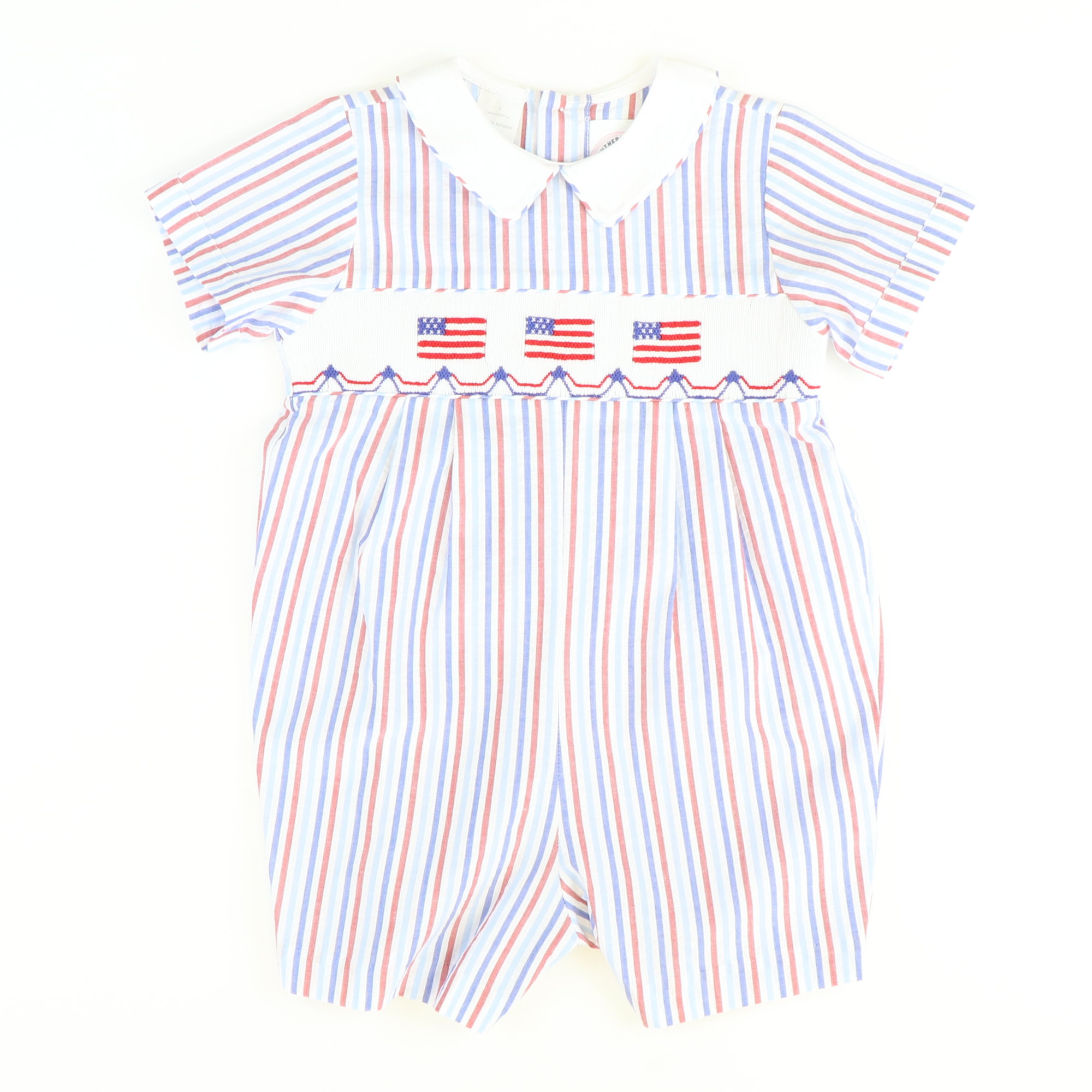 Smocked Flags Collared Boy Bubble - Red & Blue Stripes Seersucker - Stellybelly