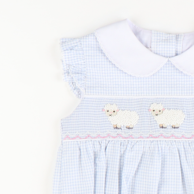 Smocked Lambs Collared Girl Bubble - Light Blue Mini Check Seersucker
