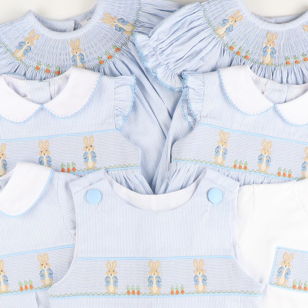 Smocked Storybook Rabbit Bishop - Light Blue Stripe