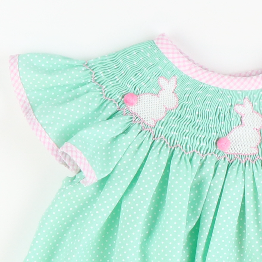 Smocked Silhouette Bunny Bishop - Mint Tiny Dot