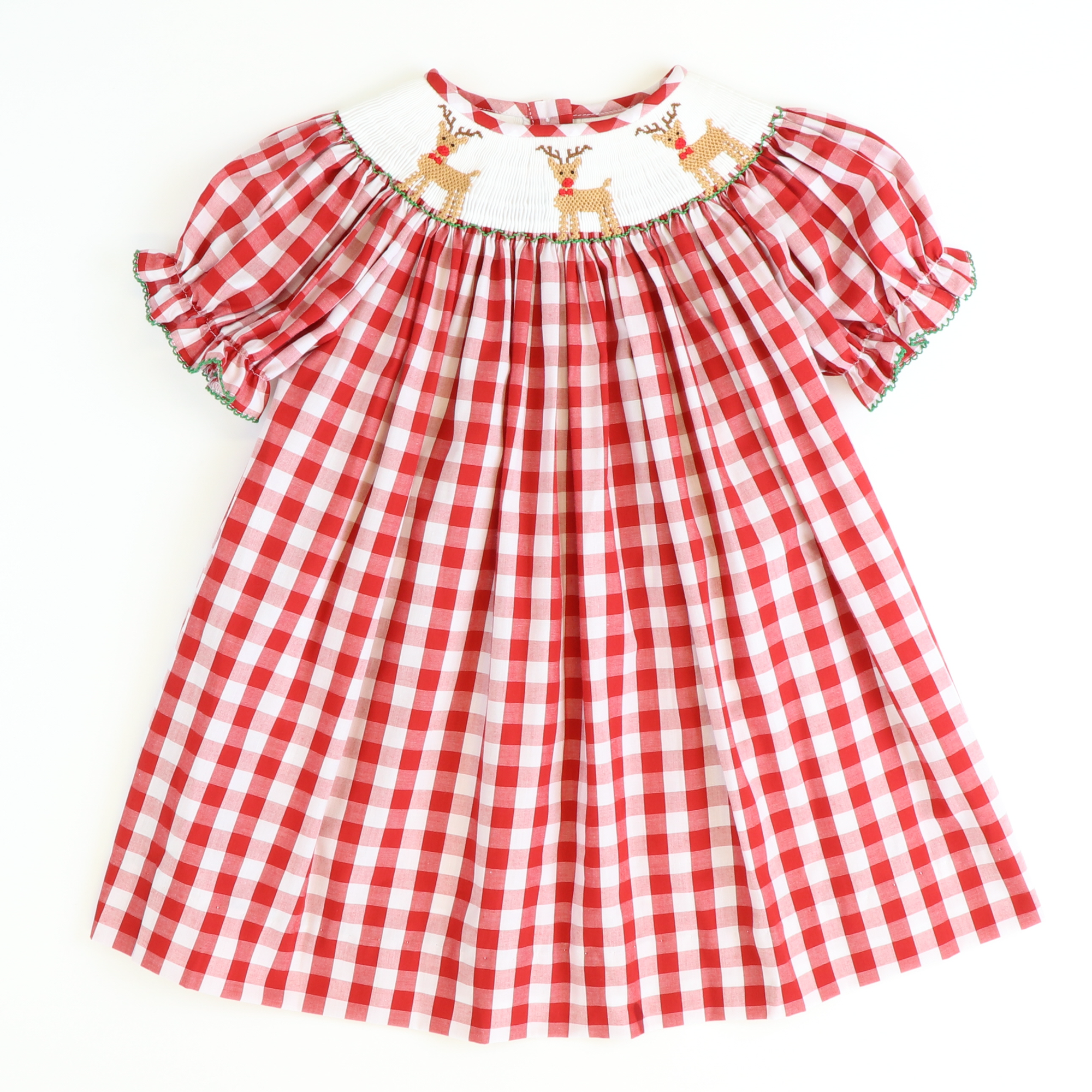 Smocked Reindeer Bishop - Red Wide Check