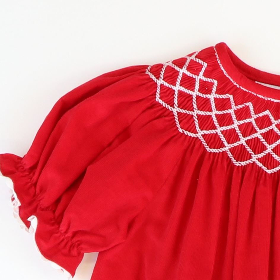 Smocked Geo Bishop - Red Corduroy