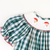 Smocked Santa Face Bishop - Dark Green Wide Check