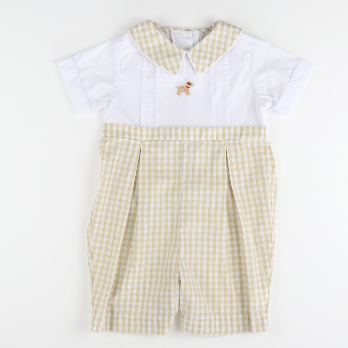Hand Embroidered Labrador Boy Bubble - Khaki Check