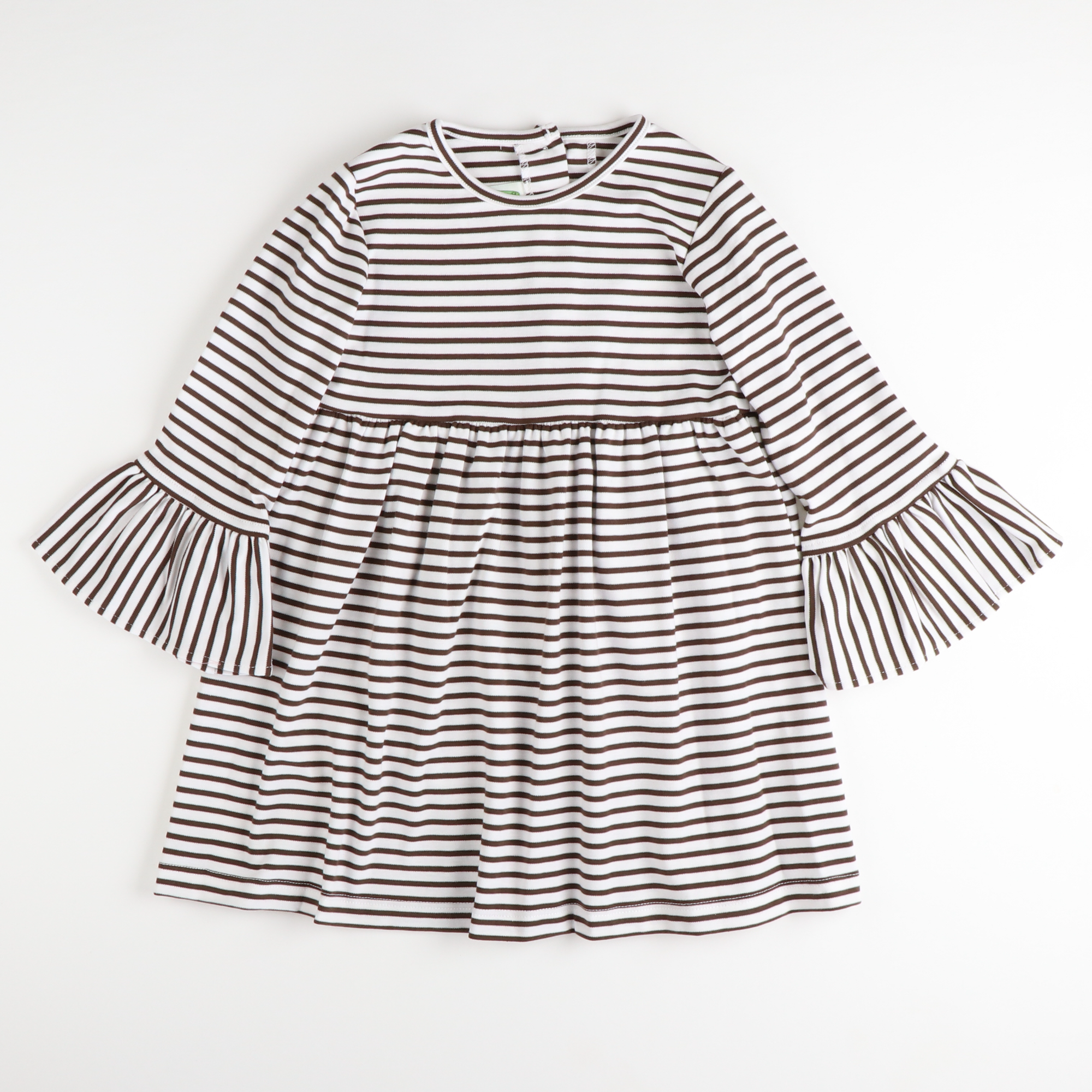 Bell Sleeve Dress - Brown Stripe Knit