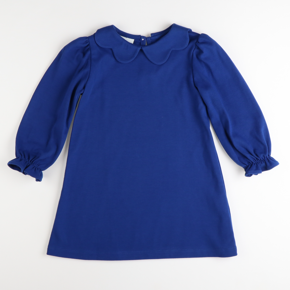 Scallop Collared Dress - Royal Blue Knit