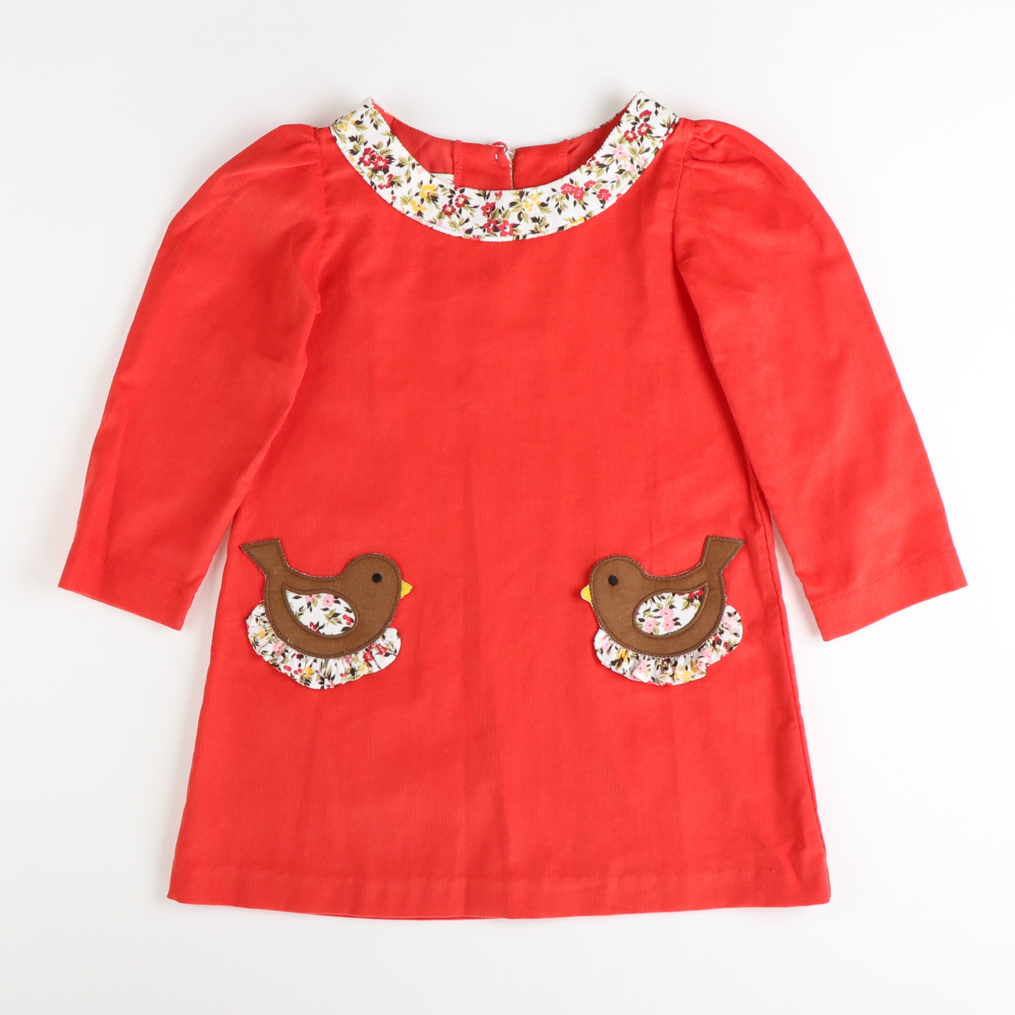 Applique Birds Dress - Tangerine Corduroy