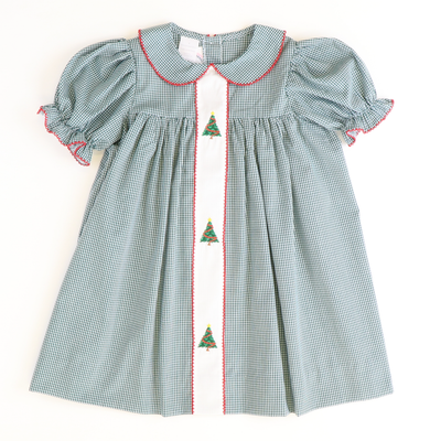 Embroidered Christmas Trees Collared Dress - Dark Green Mini Gingham