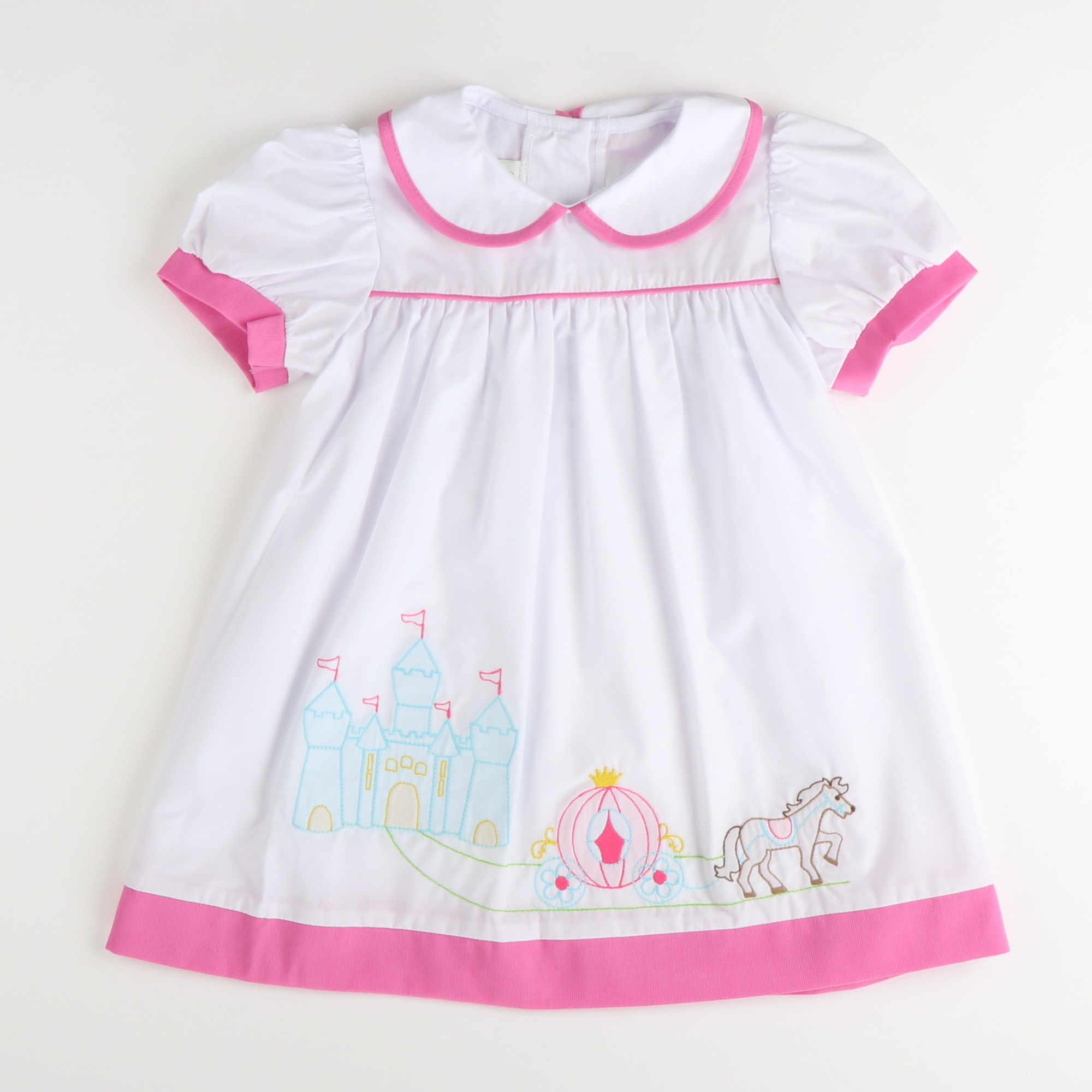 Shadow Stitch Princess Castle Dress - White