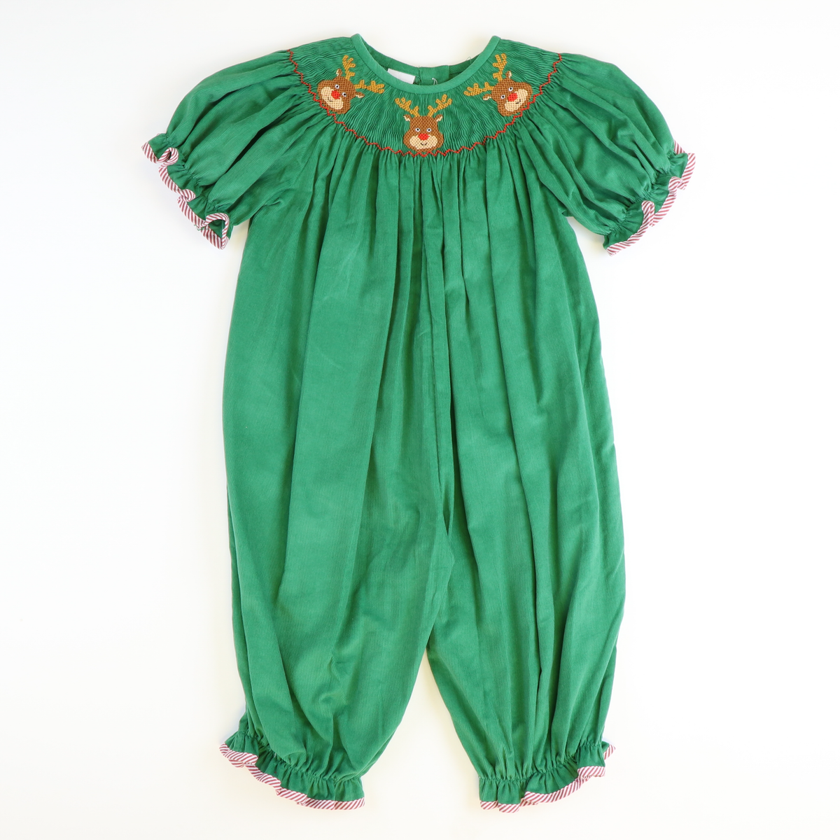 Smocked Reindeer Faces Girl Long Bubble - Green Corduroy - Stellybelly
