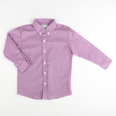 Classic Long Sleeve Button Down Shirt - Purple Mini Gingham