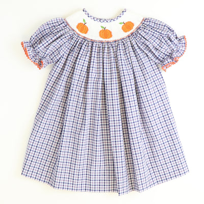 Smocked Pumpkins Bishop - Blue & Orange Plaid