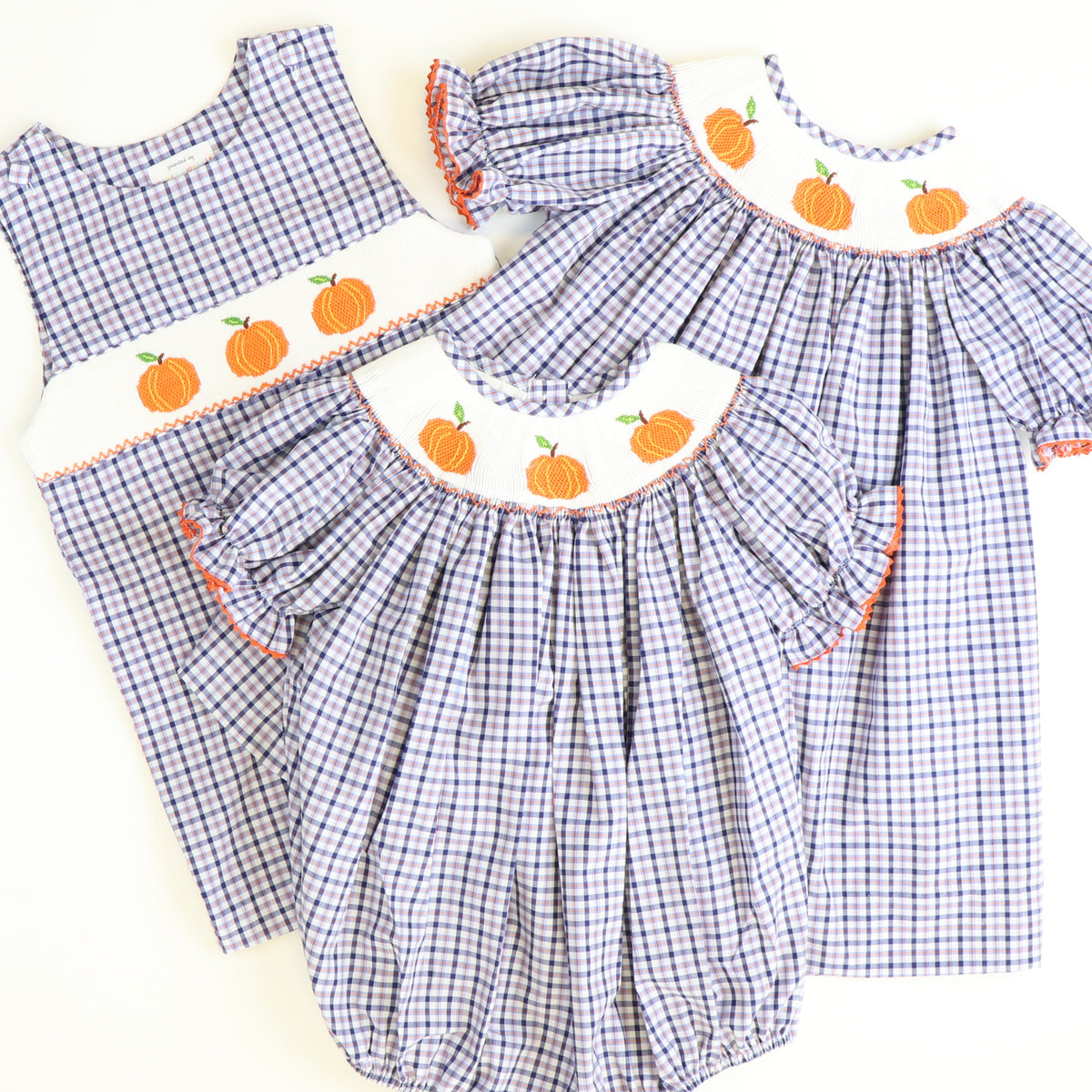 Smocked Pumpkins Shortall - Blue & Orange Plaid