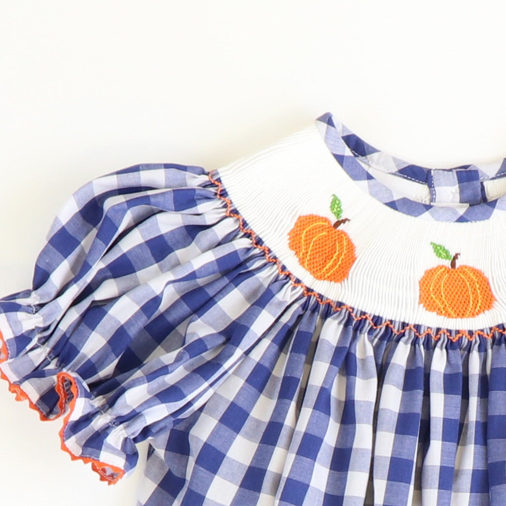 Smocked Pumpkins Bubble - Navy Check