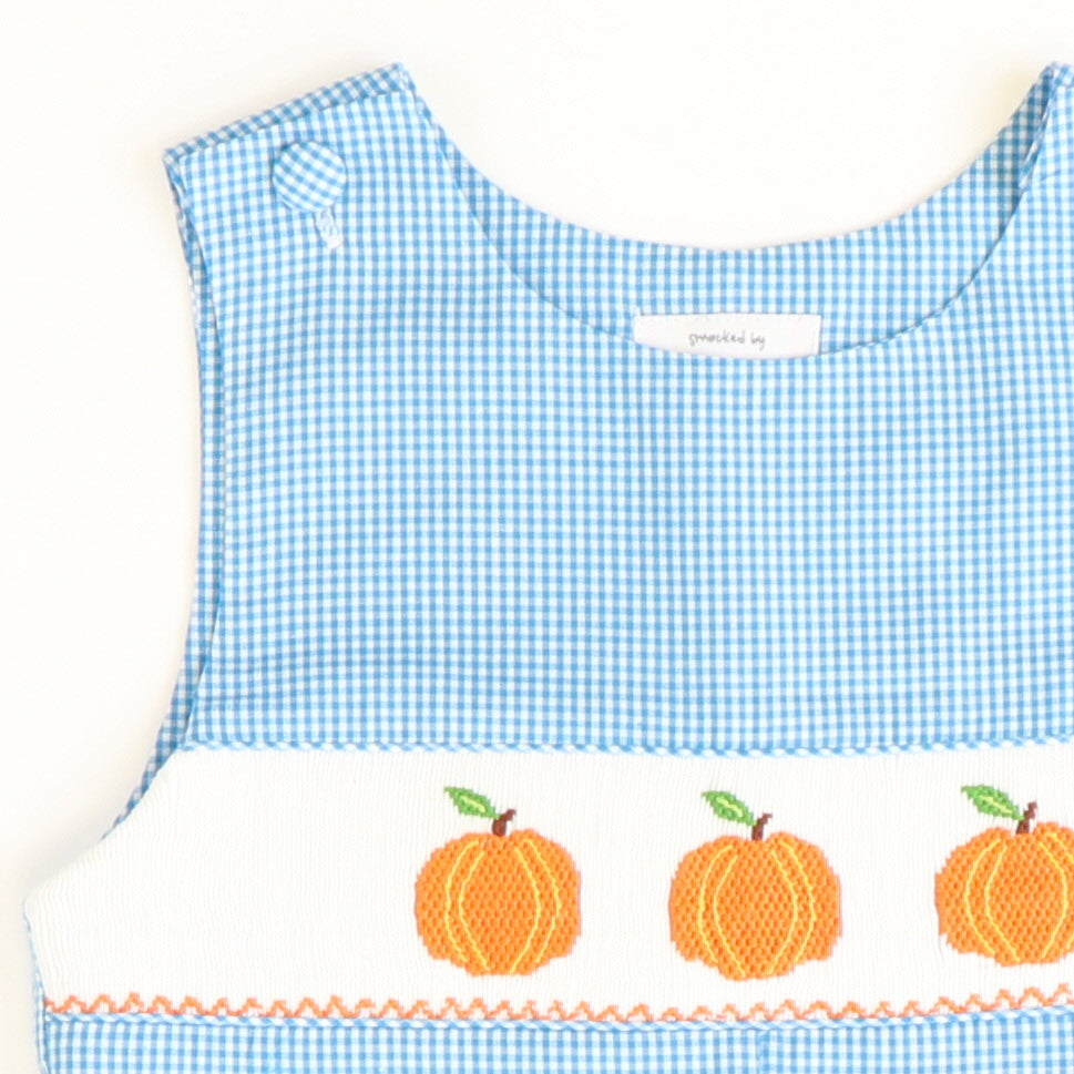 Smocked Pumpkins Shortall - Aqua Check